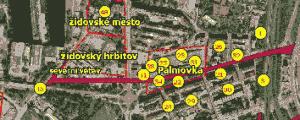 Ilustrativní výřez z mapového výstupu zobrazující archeologické lokality