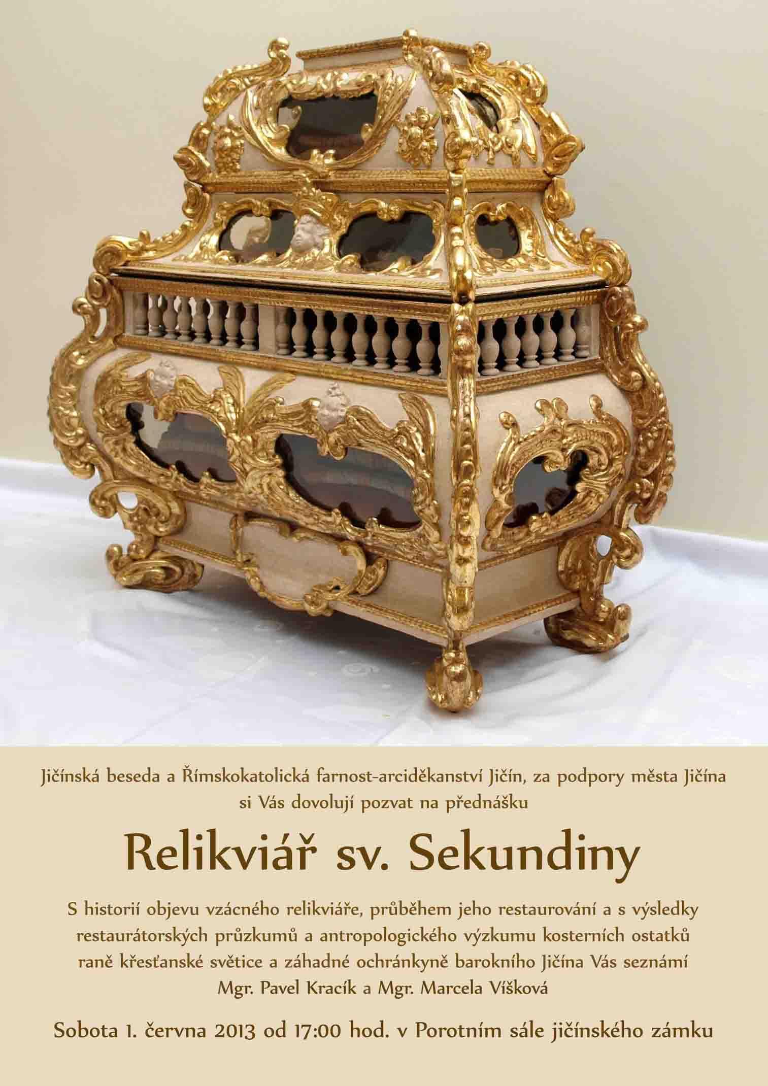 Relikviář sv. Sekundiny – pozvánka
