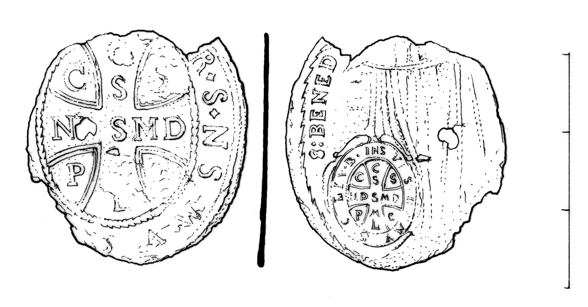 Medailon z hrobové výbavy, novověk, Praha-Řepy. Kresba M. Černý