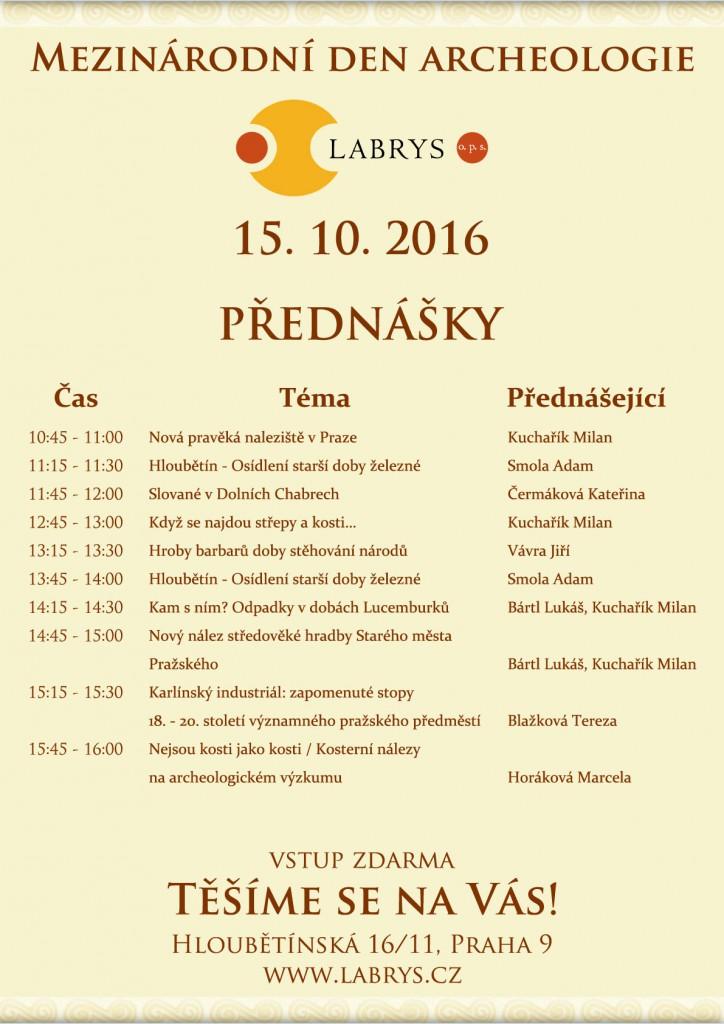 Mezinárodní den archeologie 2016, přednášky